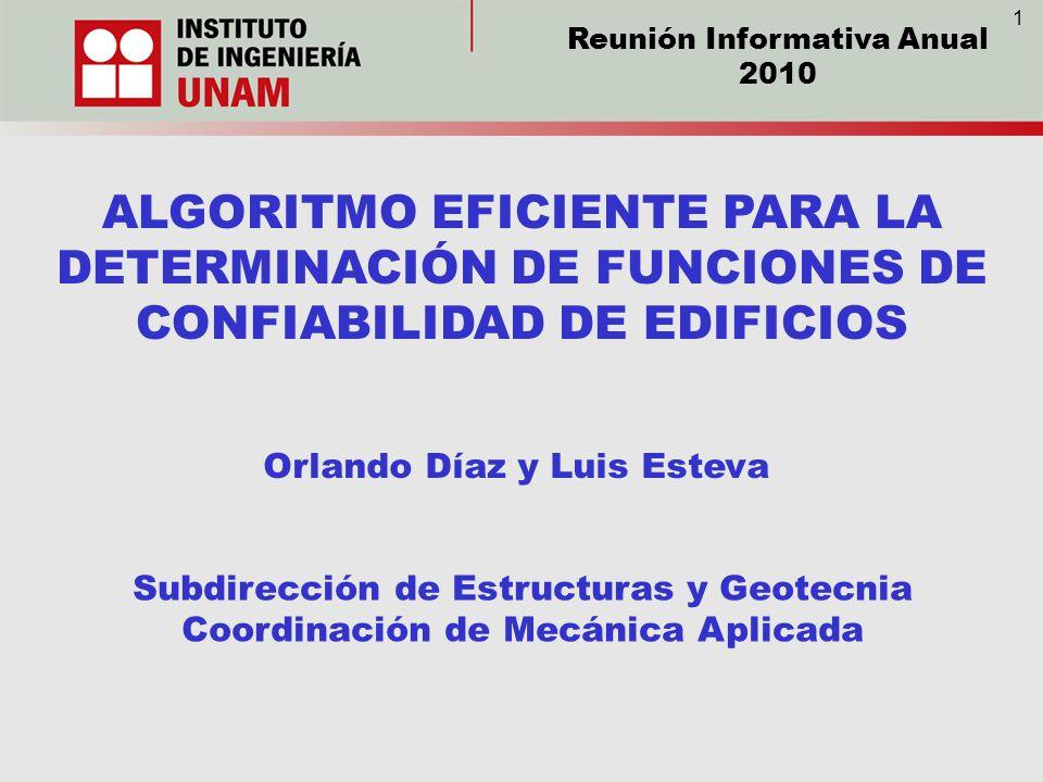 1 Reunión Informativa Anual. 2010. ALGORITMO EFICIENTE PARA LA DETERMINACIÓN DE FUNCIONES DE CONFIABILIDAD DE EDIFICIOS.