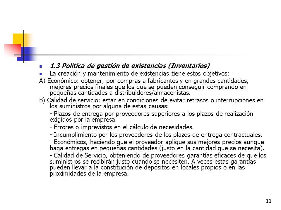 1.3 Política de gestión de existencias (Inventarios)