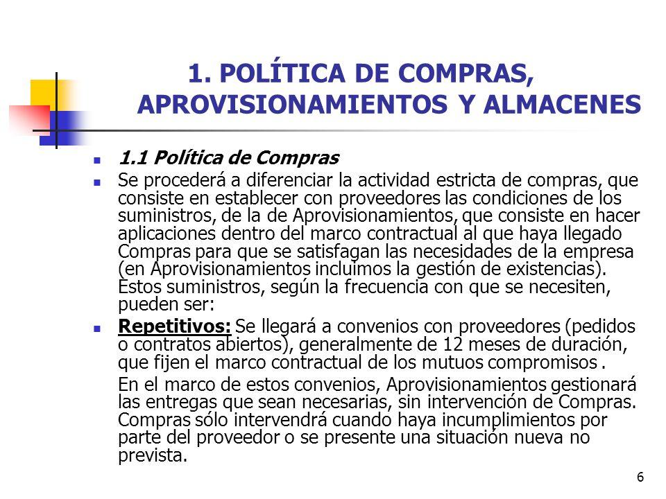 1. POLÍTICA DE COMPRAS, APROVISIONAMIENTOS Y ALMACENES