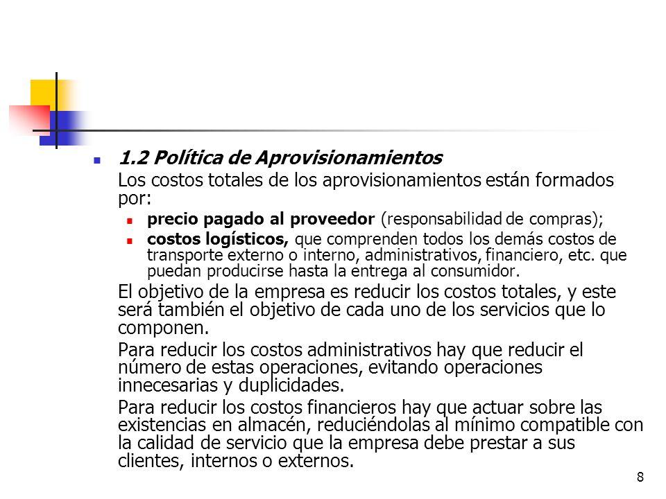 1.2 Política de Aprovisionamientos