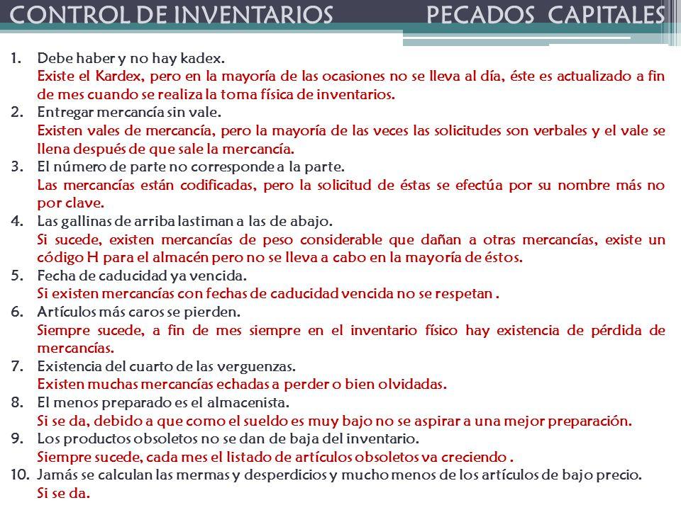 CONTROL DE INVENTARIOS PECADOS CAPITALES