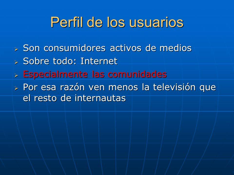Perfil de los usuarios Son consumidores activos de medios