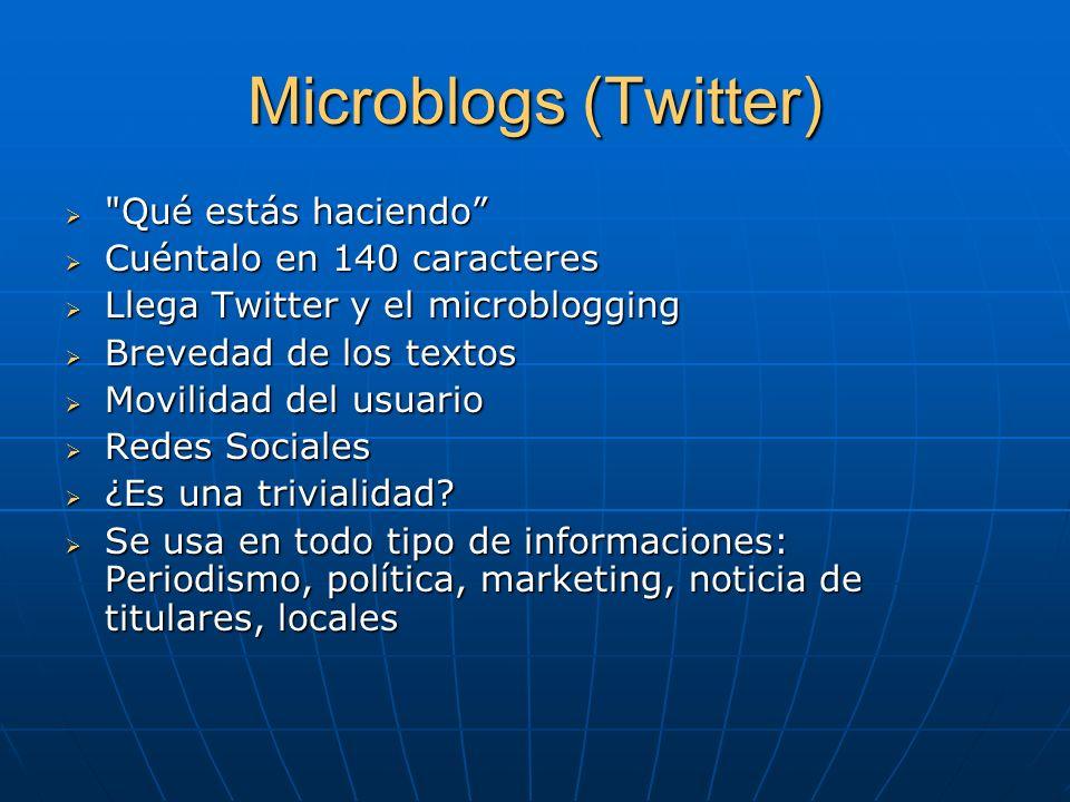 Microblogs (Twitter) Qué estás haciendo Cuéntalo en 140 caracteres