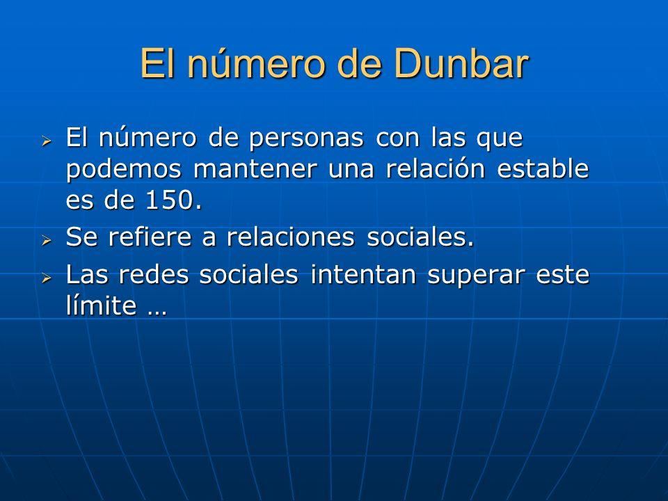 El número de DunbarEl número de personas con las que podemos mantener una relación estable es de 150.