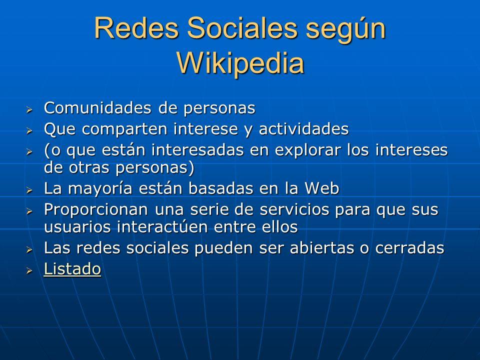 Redes Sociales según Wikipedia