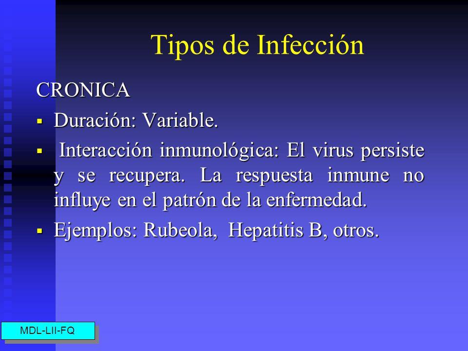 Tipos de Infección CRONICA Duración: Variable.