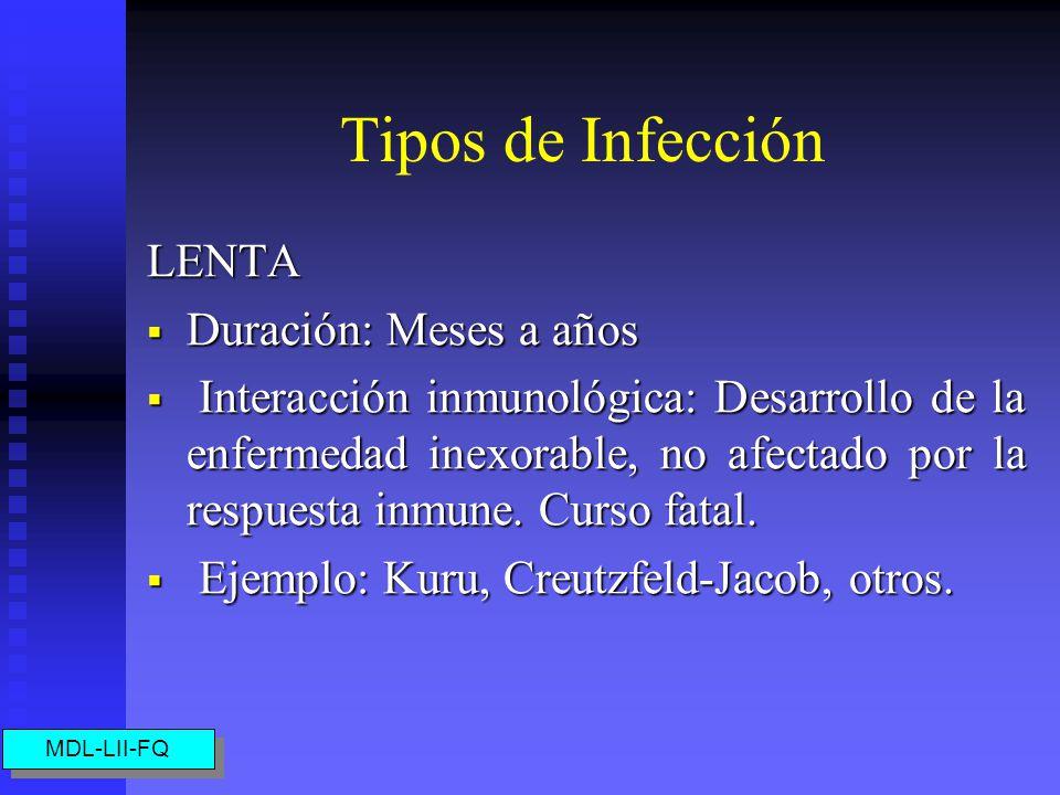 Tipos de Infección LENTA Duración: Meses a años