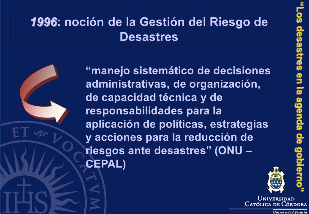 1996: noción de la Gestión del Riesgo de Desastres