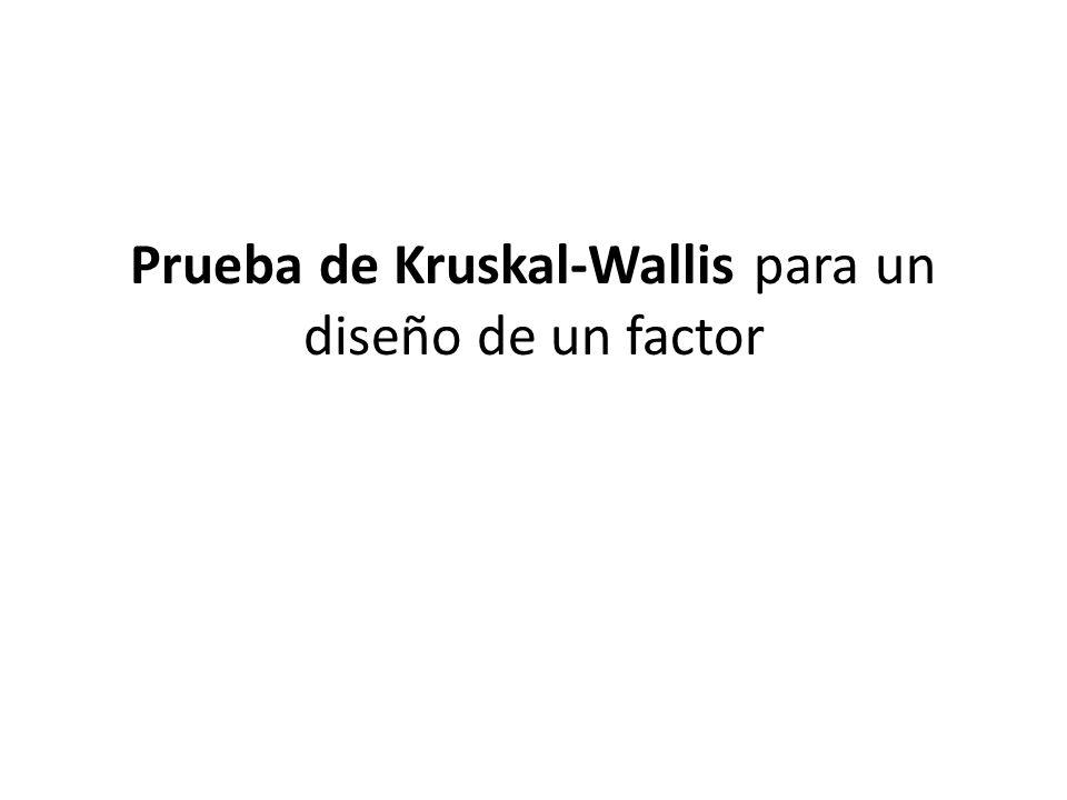 Prueba de Kruskal-Wallis para un diseño de un factor