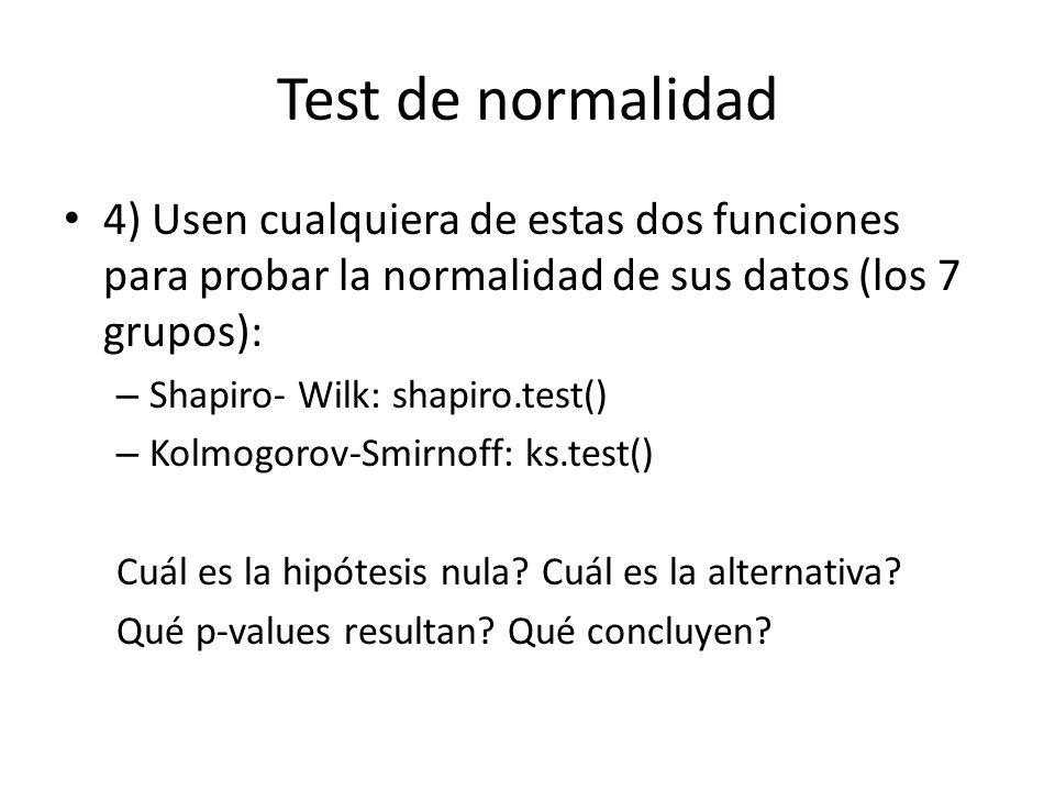 Test de normalidad 4) Usen cualquiera de estas dos funciones para probar la normalidad de sus datos (los 7 grupos):