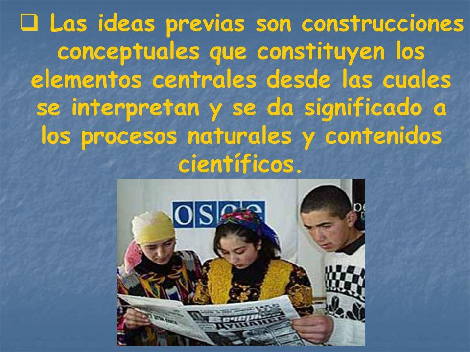 Las ideas previas son construcciones conceptuales que constituyen los elementos centrales desde las cuales se interpretan y se da significado a los procesos naturales y contenidos científicos.
