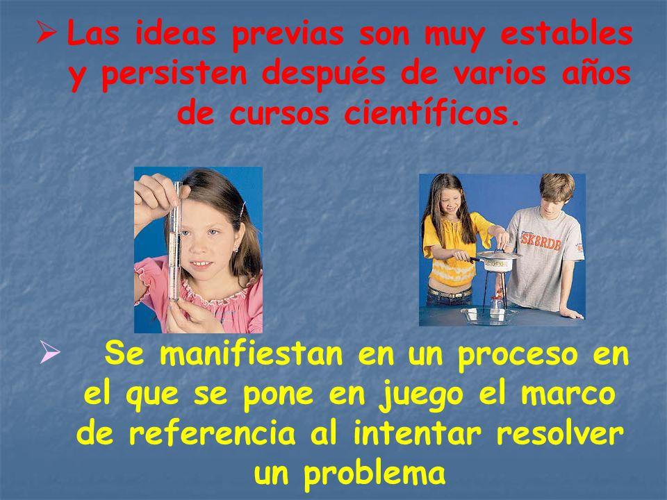 Las ideas previas son muy estables y persisten después de varios años de cursos científicos.