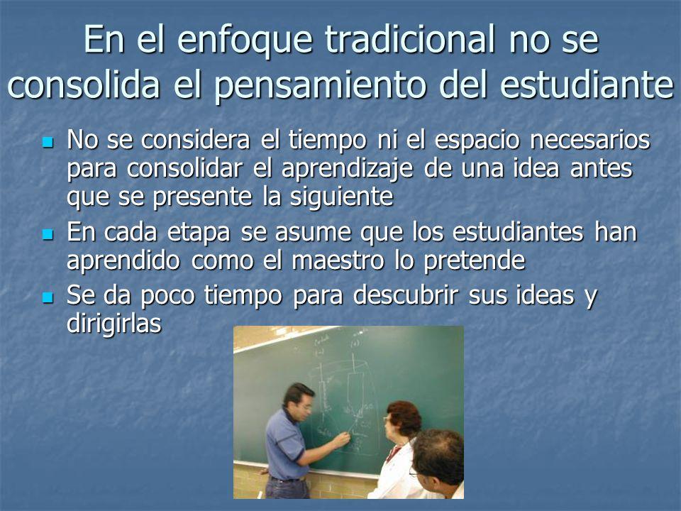 En el enfoque tradicional no se consolida el pensamiento del estudiante