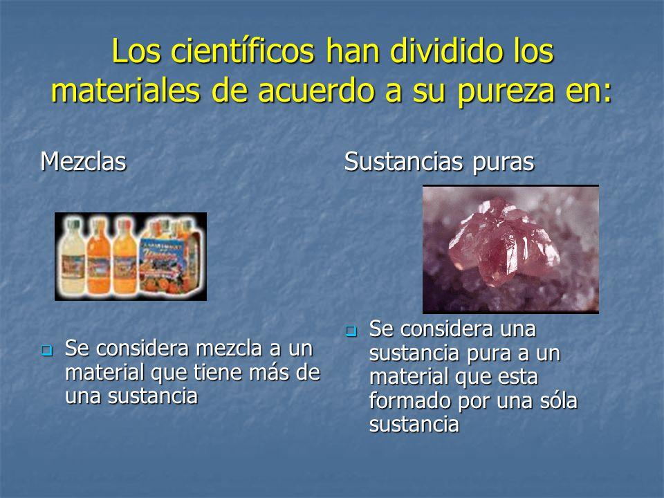 Los científicos han dividido los materiales de acuerdo a su pureza en:
