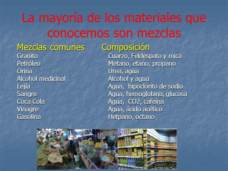 La mayoría de los materiales que conocemos son mezclas
