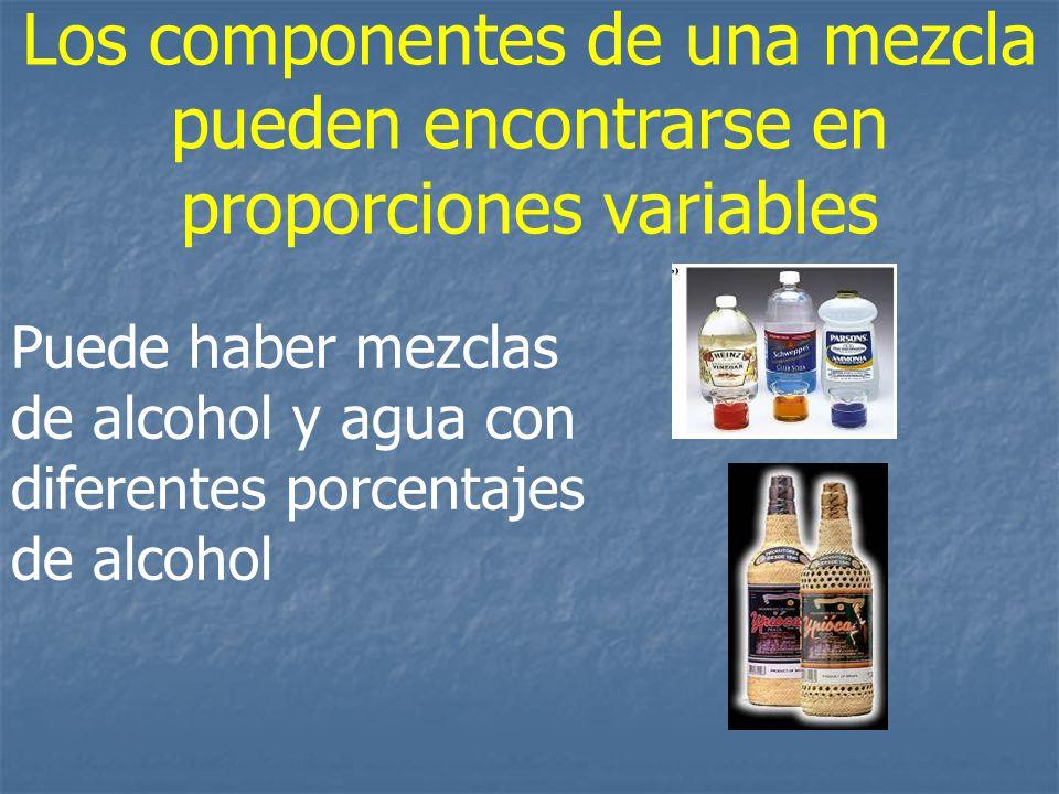 Los componentes de una mezcla pueden encontrarse en proporciones variables