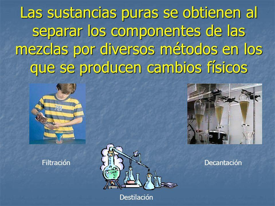Las sustancias puras se obtienen al separar los componentes de las mezclas por diversos métodos en los que se producen cambios físicos