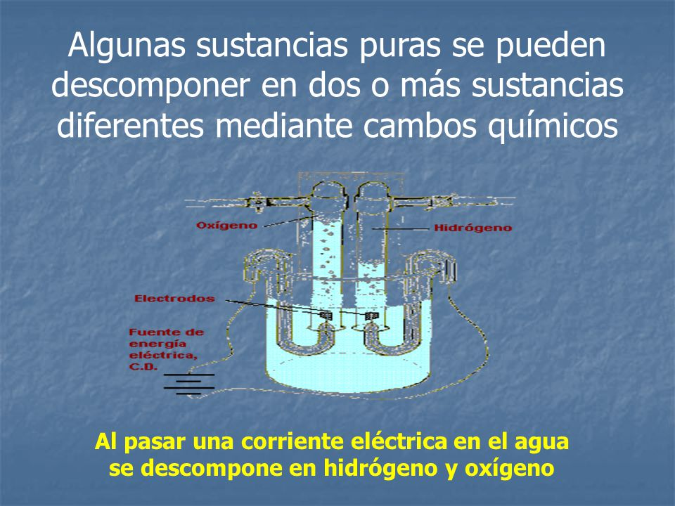 Algunas sustancias puras se pueden descomponer en dos o más sustancias diferentes mediante cambos químicos
