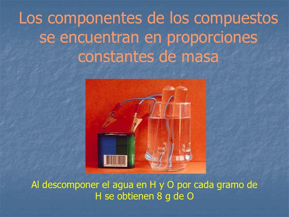 Los componentes de los compuestos se encuentran en proporciones constantes de masa