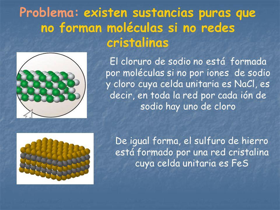 Problema: existen sustancias puras que no forman moléculas si no redes cristalinas