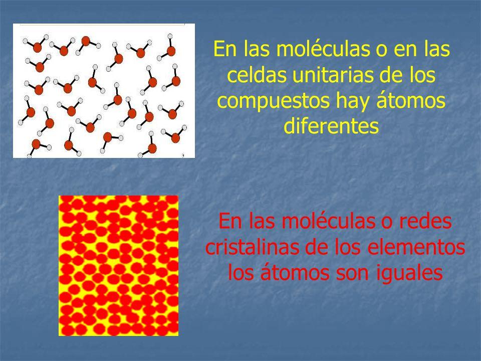 En las moléculas o en las celdas unitarias de los compuestos hay átomos diferentes