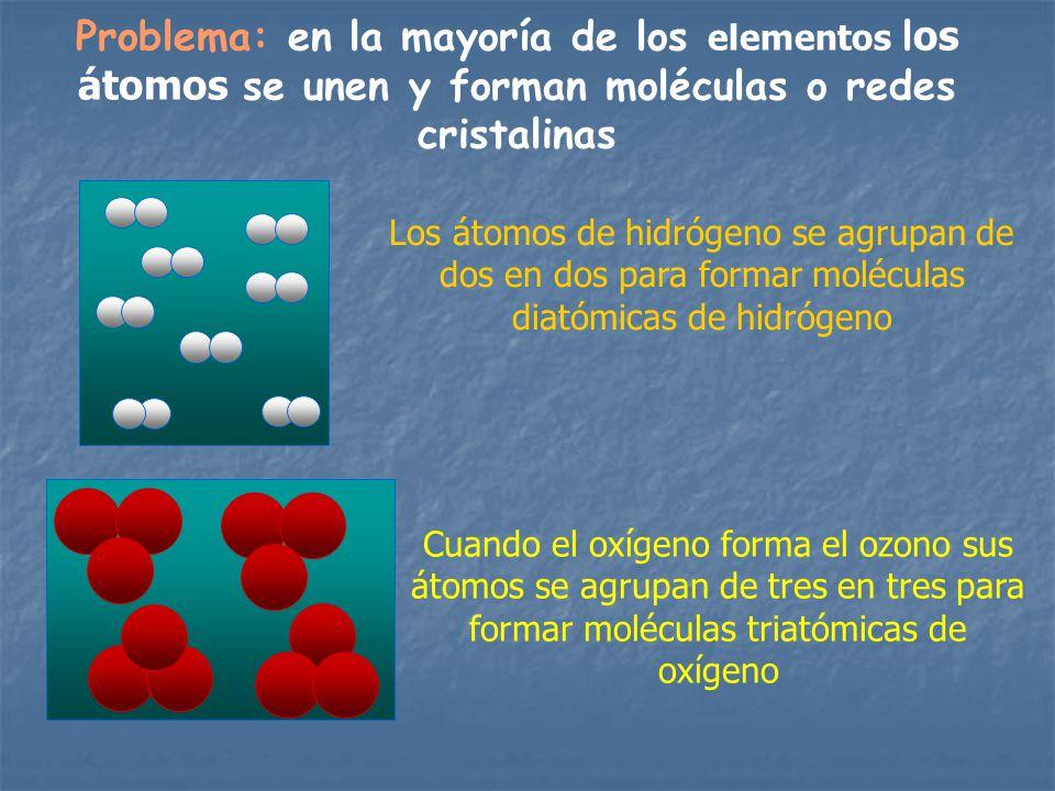 Problema: en la mayoría de los elementos los átomos se unen y forman moléculas o redes cristalinas