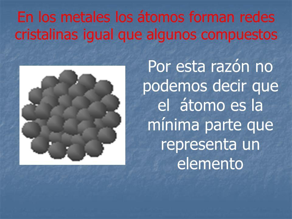 En los metales los átomos forman redes cristalinas igual que algunos compuestos