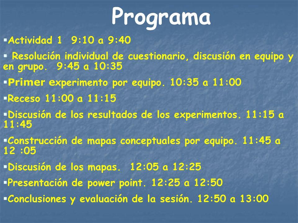 Programa Actividad 1 9:10 a 9:40