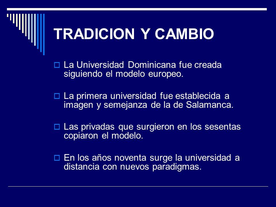 TRADICION Y CAMBIO La Universidad Dominicana fue creada siguiendo el modelo europeo.