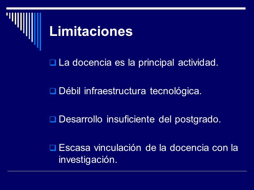 Limitaciones La docencia es la principal actividad.