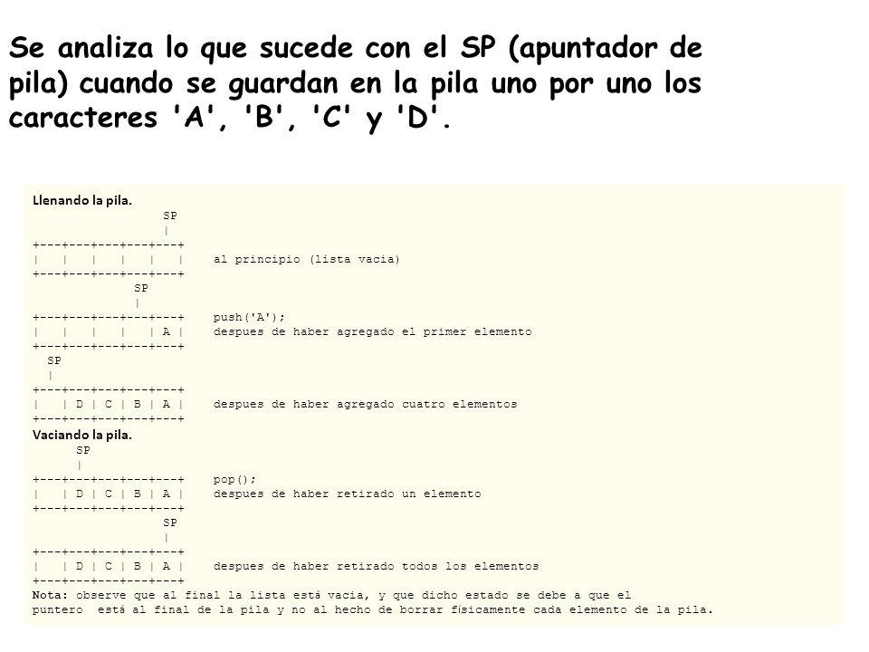 Se analiza lo que sucede con el SP (apuntador de pila) cuando se guardan en la pila uno por uno los caracteres A , B , C y D .