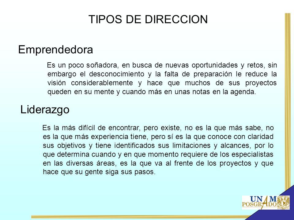 TIPOS DE DIRECCION Emprendedora Liderazgo