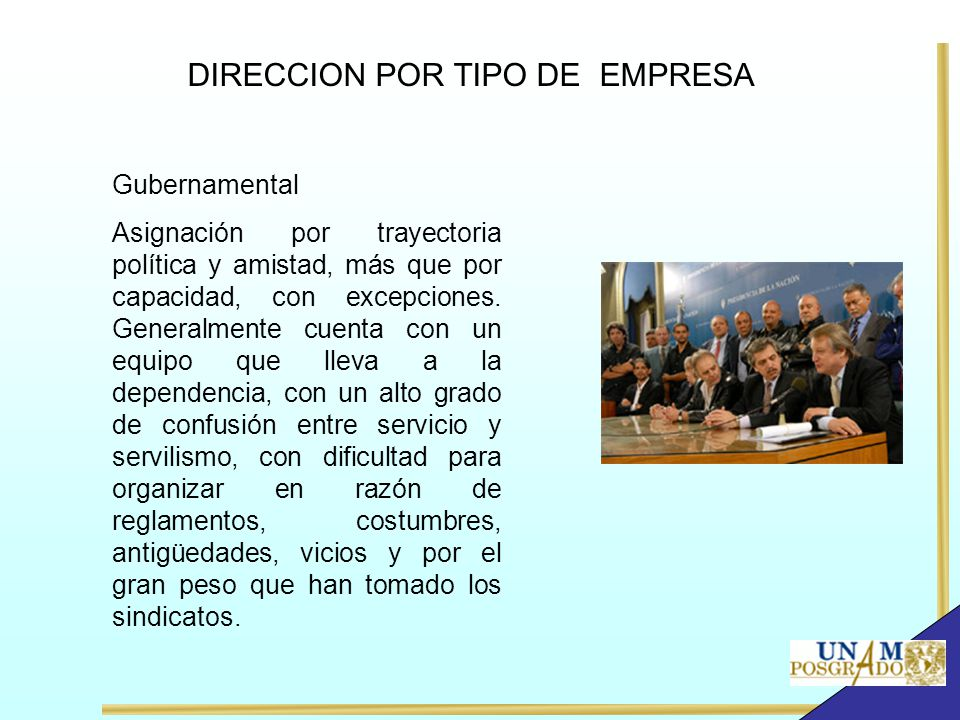 DIRECCION POR TIPO DE EMPRESA