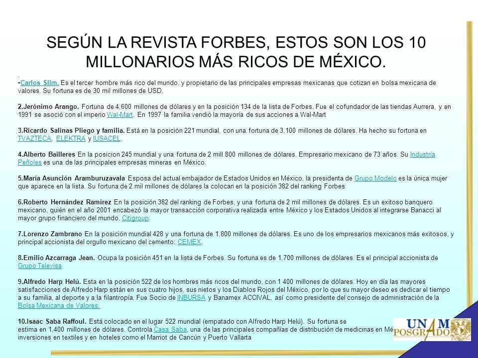 SEGÚN LA REVISTA FORBES, ESTOS SON LOS 10 MILLONARIOS MÁS RICOS DE MÉXICO.