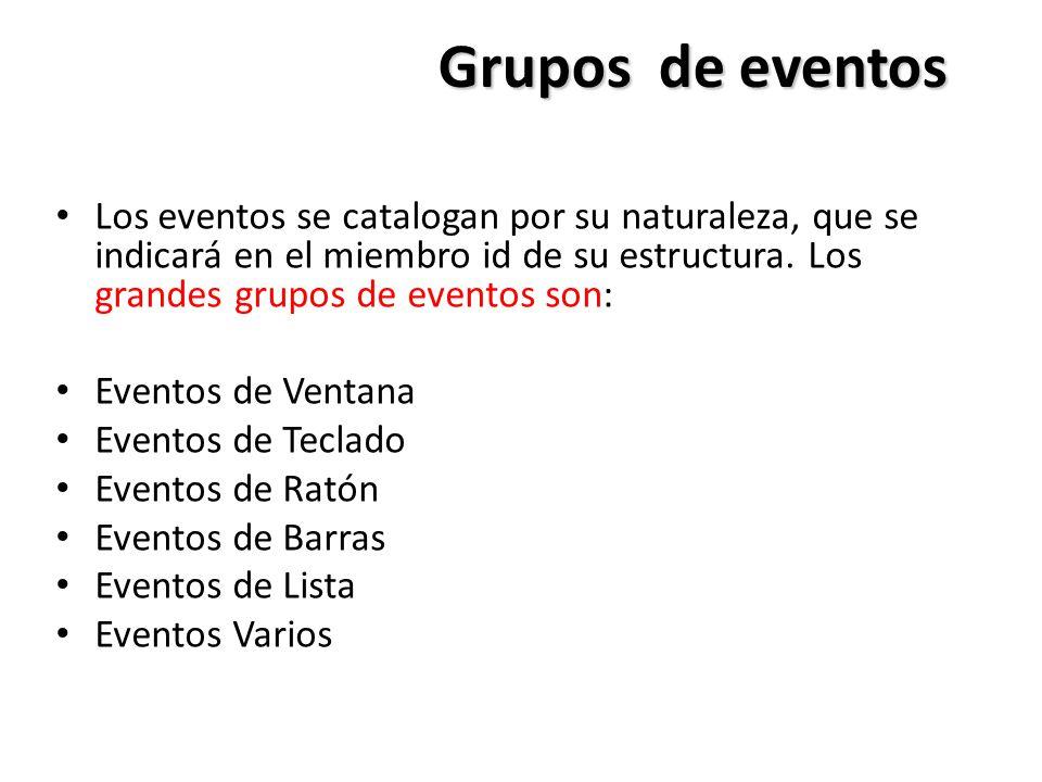 Grupos de eventos Los eventos se catalogan por su naturaleza, que se indicará en el miembro id de su estructura. Los grandes grupos de eventos son:
