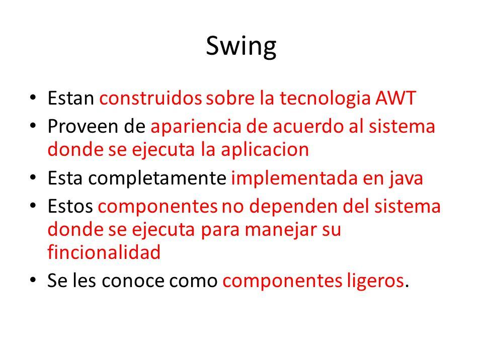 Swing Estan construidos sobre la tecnologia AWT