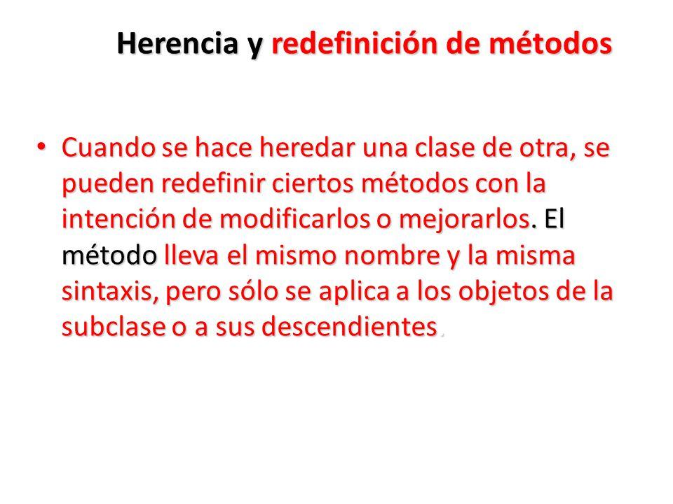 Herencia y redefinición de métodos