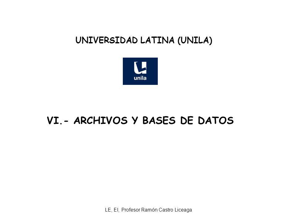 UNIVERSIDAD LATINA (UNILA) VI.- ARCHIVOS Y BASES DE DATOS