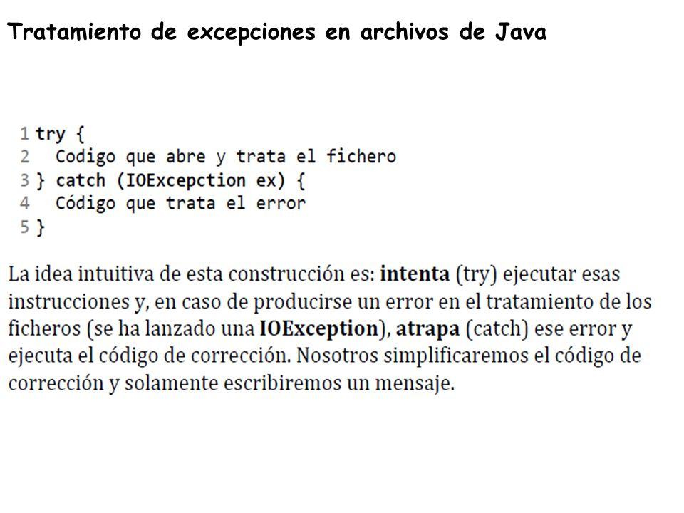 Tratamiento de excepciones en archivos de Java
