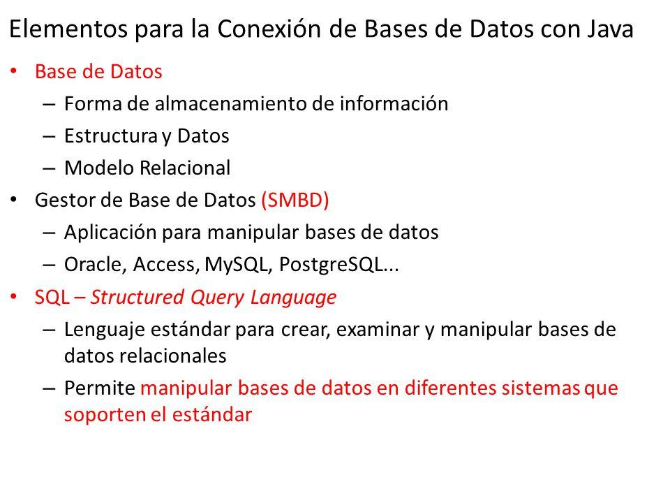 Elementos para la Conexión de Bases de Datos con Java