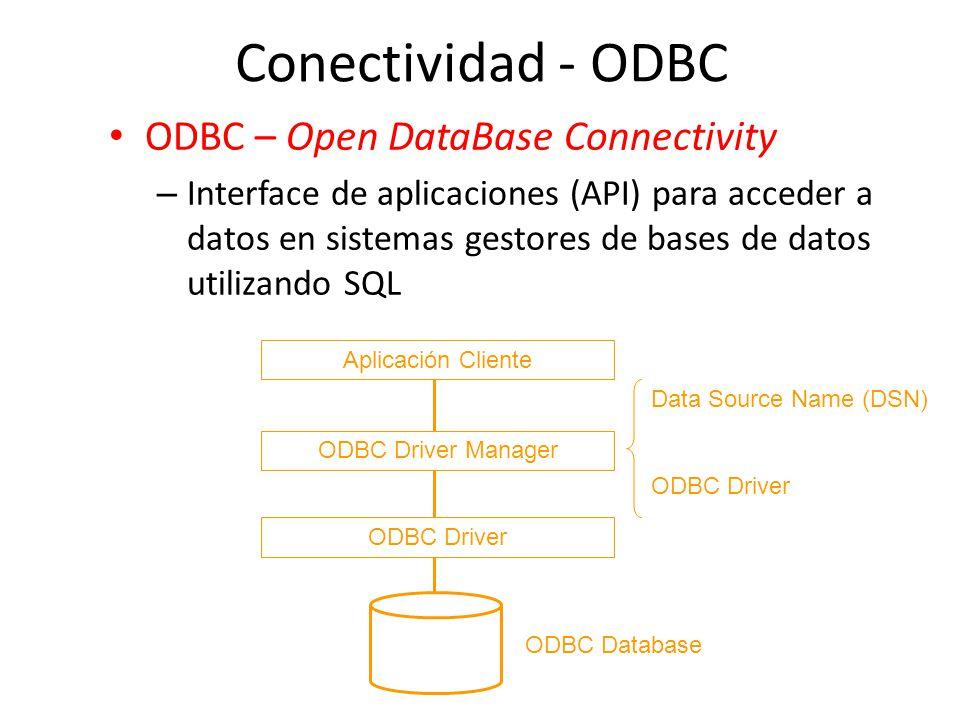 Conectividad - ODBC ODBC – Open DataBase Connectivity