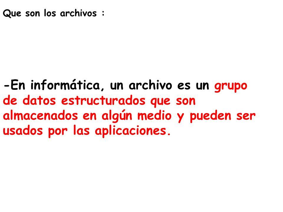 Que son los archivos :