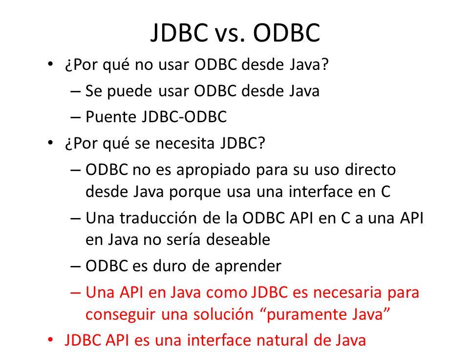 JDBC vs. ODBC ¿Por qué no usar ODBC desde Java