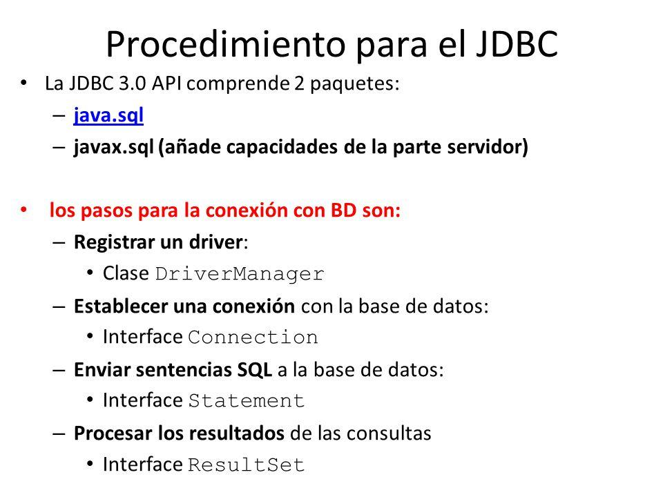 Procedimiento para el JDBC