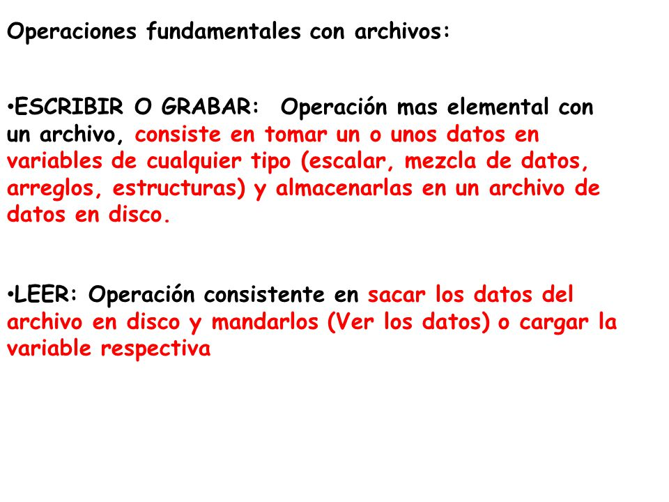 Operaciones fundamentales con archivos: