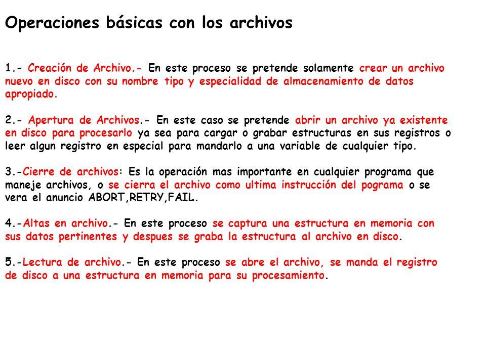 Operaciones básicas con los archivos