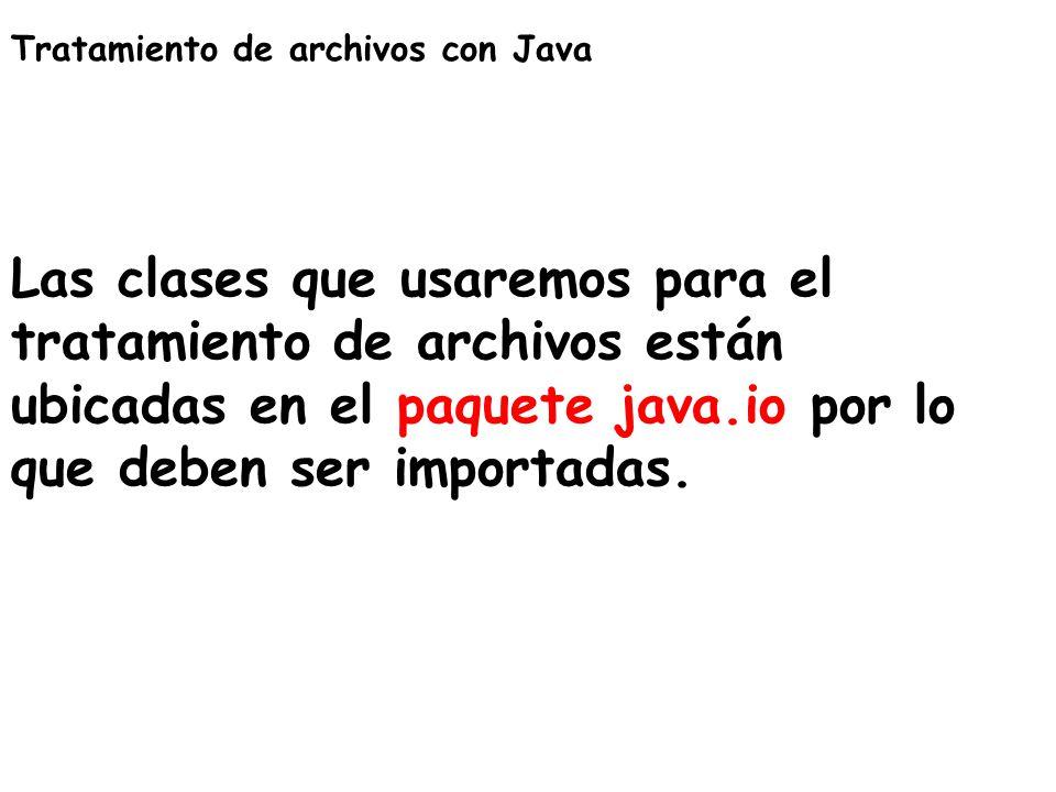 Tratamiento de archivos con Java