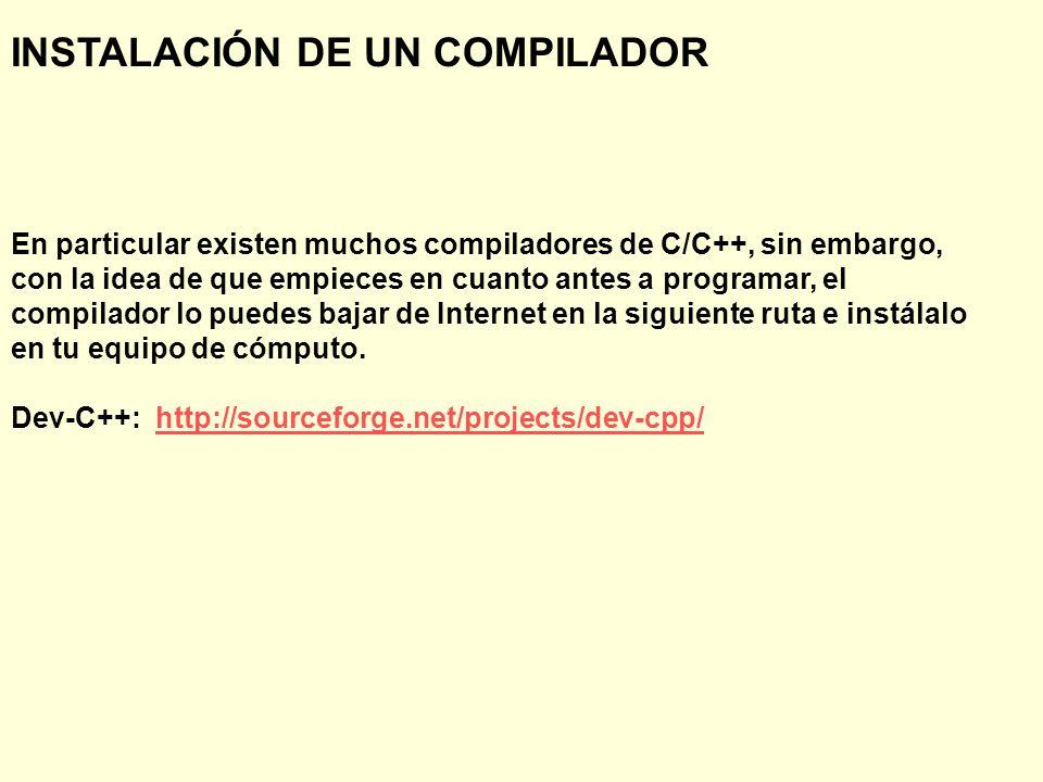 INSTALACIÓN DE UN COMPILADOR