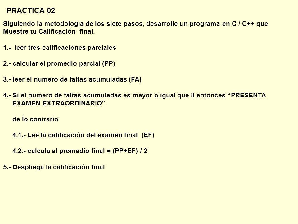 PRACTICA 02 Siguiendo la metodología de los siete pasos, desarrolle un programa en C / C++ que. Muestre tu Calificación final.