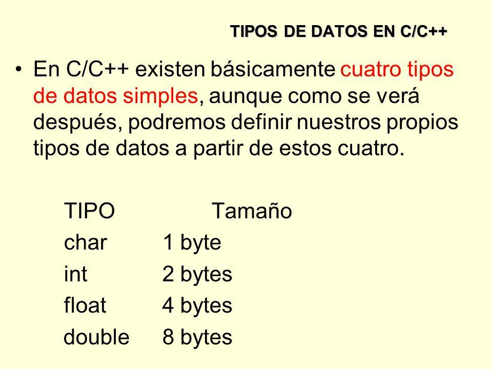 TIPOS DE DATOS EN C/C++